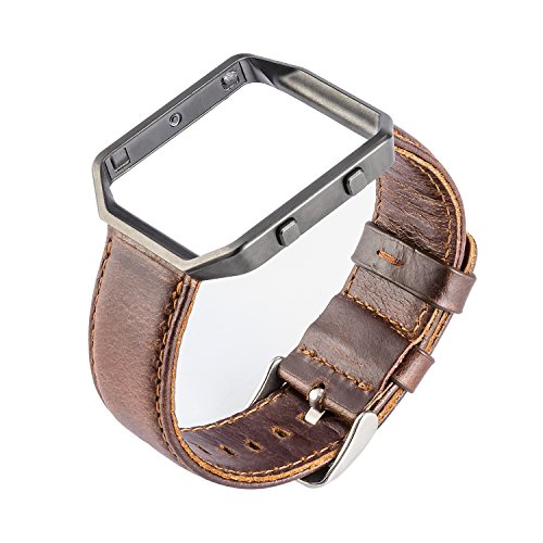 Fitbit Blaze Leather Band, Vintage Series Fitbit Blaze Band with Frame Genuine Leather Replacement Band for Fitbit Blaze Smart Watch (Coffee/Black)