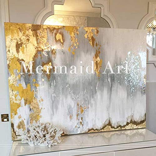 Orlco Art Wanddekoration, Wandgemälde, abstrakt, modernes Design, handbemalt, goldfarben/Weiß/Grau, Canvas, grau, 32x48inch(80x120cm)