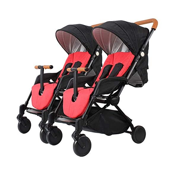 MYRCLMY Baby Double Stroller, Twin Baby Strollers Lightweight 5-Point Safety System Canopy UV Protection Independently Reclining Seats Easy Fold Storage Basket Drink Holder Tray,Black  *LIGHTWEIGHT - Travel-friendly lightweight design is perfect for traveling and day trips. *FREEDOM OF SEPARATION - can be used by single person, can be used by two people, quick release design of connector, free to split and more convenient to use. *RECLINING SEAT -- Reclining seat offers 5-point safety restraint system and accommodates child to 50KG per seat. 1