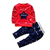 Hirolan Neugeborenes Säugling Baby Jungen Star Drucken Tops + Hosen Outfits Baggyjeans Pullover & Strickjacken Sweatshirts Hosen Babykleidung Krabbelhosen (Rot, 80)