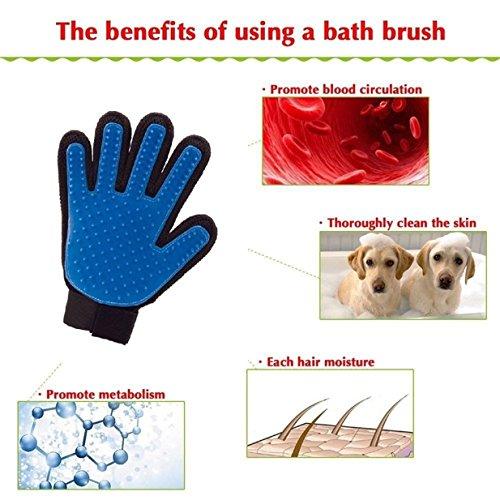 Lalang 1 pcs Brosse pour cheveux Gant de toilettage pour chien/chat Gant de massage pour toilettage doux et efficace pour nettoyer Gants