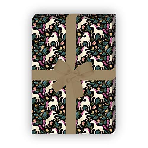 Romantisches Einhorn Geschenkpapier Set (4 Bogen) für kleine & große Mädchen, schwarz, Geschenk Verpackung zum Einpacken 32 x 48cm, zu Ostern Weihnachten Geburtstag, universal Geschenkpapier (Großes Geschenk Bögen)