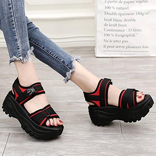 Sommer sandalen, 7 cm dicke Sandalen Weibliche Studenten Sommersandalen Römische Schuhe College Sportschuhe (Rot / Schwarz) Farbe / Größe optional ( Farbe : Schwarz , größe : EU36/UK3.5/CN35 ) Rot