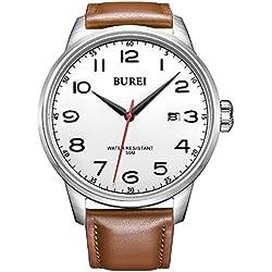 BUREI® Men's Date Waterproof Quartz Watch with Brown Genuine Leather Strap, White Dial