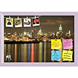 ArtzFolio Empire State Building At Night, New York, USA Printed Bulletin Board Notice Pin Board cum White Framed Painting 17.5 x 12inch