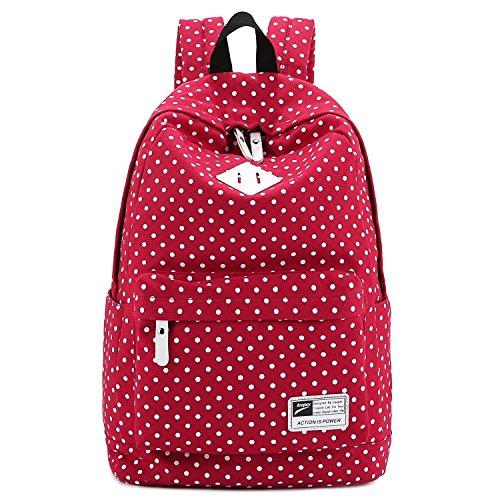 """S-ZONE leggero casuale Daypack Tela Pois Backpack 14 """"-15"""" PC sacchetto di scuola del computer portatile per ragazze adolescenti RED"""
