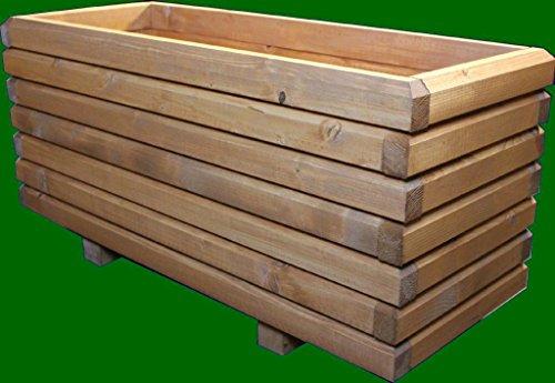 Massiver Pflanzkasten 120x50x48cm (LxBxH) aus Holz 60x40mm lasiert mit Holzschutzlasur TEAK