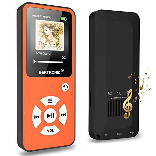 BERTRONIC Made in Germany BC01 Royal MP3-Player, 16 GB ★ Bis 100 Stunden Wiedergabe ★ Radio | Portabler Player mit Lautsprecher | Audio-Player für Sport mit Micro SD-Karte & Silikonhülle - Mp3-player Mit Shuffle