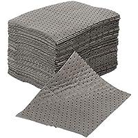 Paquete de 50 almohadillas absorbentes universales de uso general para derrames, cada almohadilla absorbe aproximadamente 1 litro cada una