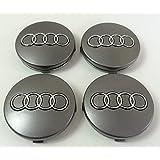 4x Bouchons Enjoliveur Logo Audi de 60mm pour rivets cercles alliage–A1A2A3A4A5A6A7A8S1S3S4S5S6, caches roues S8R8RS3rS6RS7TTS TT Q2–Bouchons Q3Q5Q7SQ7s line quatre allroad sportback