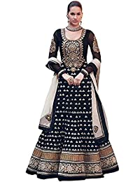 Purva Art Womens Georgette Diwali Black Embroidery Work Dress (PA_DBD_978_Black_Semi-Stitched_Womens Dress)