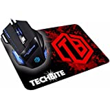 TECHBITE 5500 DPI 7 Button LED Optical USB Wired Gaming Mouse 7 LED Colours For Pro Gamer - Black