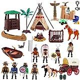 deAO Jeu de Figurines Western Deluxe avec Char à Chevaux, des Animaux, Un Tipi avec Lumière, Musique et Une Variété d'Accessoires Inclus