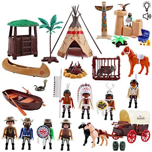 deAO Deluxe Indianer Cowboys Wild West Tribe Figuren Spielset Lernspielzeug mit Unterhaltungsmusik und Zubehör