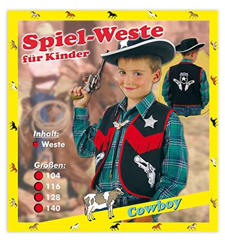 KarnevalsTeufel Spiel-Weste für Kinder Cowboy Verschiedene Größen Cowboyweste schwarz-rot mit Aufdruck Sheriff Stern
