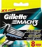 Gillette Mach3 Lames de Rasoir pour Homme 8 Recharges -  Déballer sans s'énerver