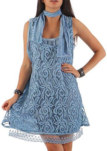 malito Damen Strickkleid mit Schal | Maxikleid mit Spitze | ärmelloses Freizeitkleid - Kostüm 7358 (blau)