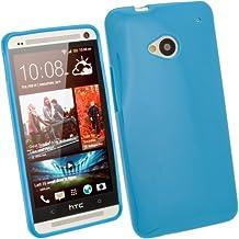 igadgitz Azul Case TPU Gel Funda Cover Carcasa para HTC One M7 Android Smartphone + Protector de pantalla
