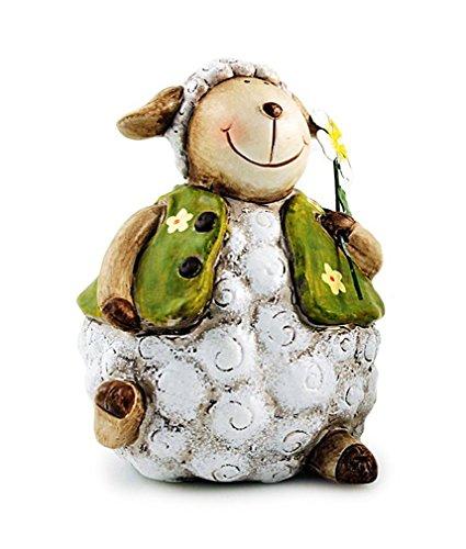 TEMPELWELT Deko Figur Lamm Schäfchen Schaf sitzend mit Blume 12 cm aus Keramik weiß grün mit Metall Blume, Dekofigur Lämmchen Gartenfigur für Frühling Ostern
