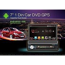 2G 32G DIN Android 6.0Quad-Core, pantalla táctil, Bluetooth, DVD/CD/MP3/USB/SD AM/FM estéreo de coche, monitor digital con pantalla LCD de 7pulgadas, panel frontal extraíble inalámbrica, mando a distancia, iluminación multicolor