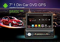 2G 32G Single Din Android 6.0 Quad-Core, Touchscreen, Bluetooth, DVD/CD/MP3/USB/SD AM/FM Car Stereo, 7 Inch Digital LCD Monitor, Detachable Front Panel, Wireless Remote,Multi-Color Illumination