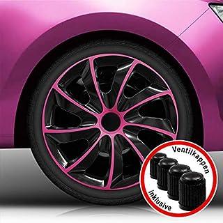 Autoteppich Stylers Aktion 15 Zoll Radkappen 02/RK Schwarz-Pink Bundle (Farbe und Größe wählbar!)