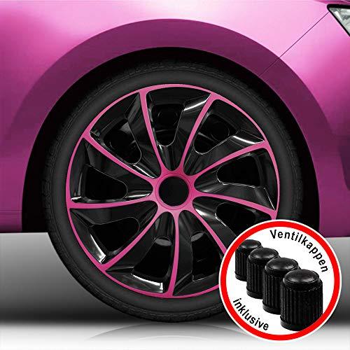 Autoteppich Stylers Aktion 13 Zoll Radkappen/Radzierblenden 002 Bicolor Bundle (Schwarz-Pink) passend für Fast alle Fahrzeugtypen - universal -