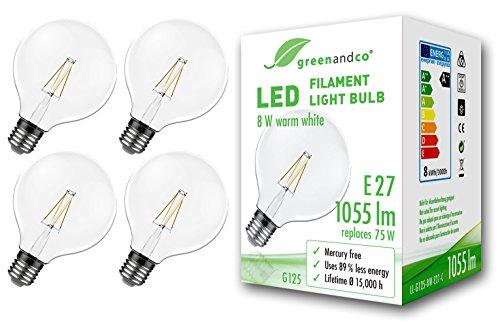 4x greenandco® Ampoule à Filament LED Vintage E27 G125 8W (équivalent 75W) 1055lm 2700K (blanc chaud) 360° 230V Verre, aucun scintillement, non-gradable