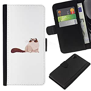ZCell / Sony Xperia Z2 D6502 / Big Pussy Cat Art Drawing Siamese Furry / Wallet Cuir PU Coverture Shell Armure Coque Coq Cas Case / Big Pussy Cat