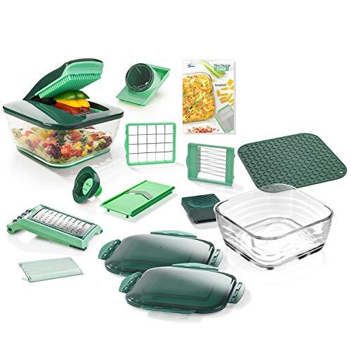 Genius Nicer Dicer Chef | 18 Teile | Gemüseschneider | Zerkleinerer | Obstschneider | Zwiebelschneider | Würfelschneider | Multischneider | Pommesschneider | Kartoffelschneider