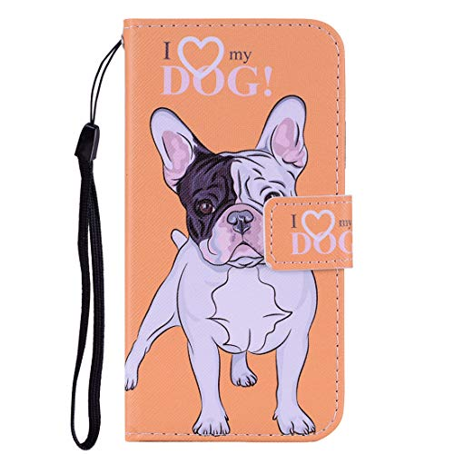 Chreey Hülle für Xiaomi Mi A2 Lite (Redmi 6 Pro), PU Leder Handyhülle Brieftasch Schutzhülle mit Niedlich Muster, Bulldogge - Klarsichthülle A2