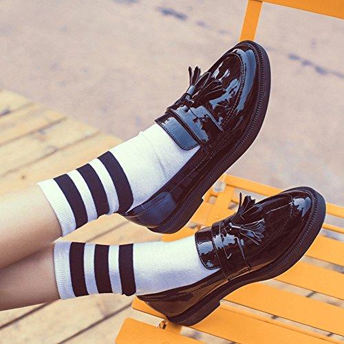 Damen Weiche Anti-Rutsche Sohle Low-Top Freizeit Schuhe Lackleder Blockabsatz Süße Prizessin Schuhe Schwarz
