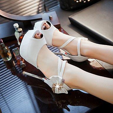 LvYuan Da donna-Sandali-Ufficio e lavoro Formale Serata e festa-Altro-A stiletto-Felpato PU (Poliuretano)-Nero Rosso Bianco White