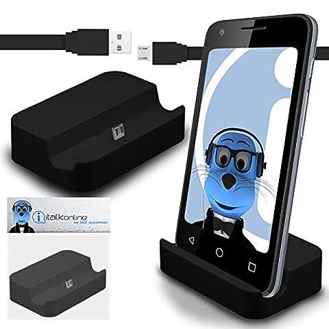iTALKonline Samsung Galaxy S5 SV SM-G900F I9600 / Galaxy S5 Neo Schwarz Micro USB Sync & Charge / Lade Desktop Dock Standplatz Ladegerät mit 1,2 Meter hohe Qualität FLAT USB zum Mikro-USB Sync und Ladekabel