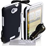 Yousave Accessories ht-da01-z947cp Stück inkl. Tasche + Stylus + Kfz-Ladegerät + Displayschutzfolie + Poliertuch für HTC One X Weiß/Schwarz preiswert