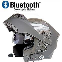 XYL Cascos modulares para Motocicleta Espejo antivaho Doble certificación Dot Cascos giratorios abatibles Bluetooth + FM Altavoz Doble Incorporado Auriculares Bluetooth con micrófono,Gray,XL