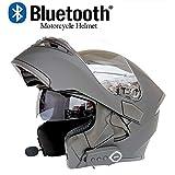 ZHYY Modular Motorcycle Helmets Bluetooth+FM DOT Certification Flip Up Touring Helmets Built-In Dual-Speaker