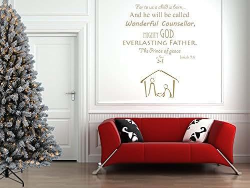 Christmas nativity bible quote vinyl wall art sticker for Christmas wall art amazon