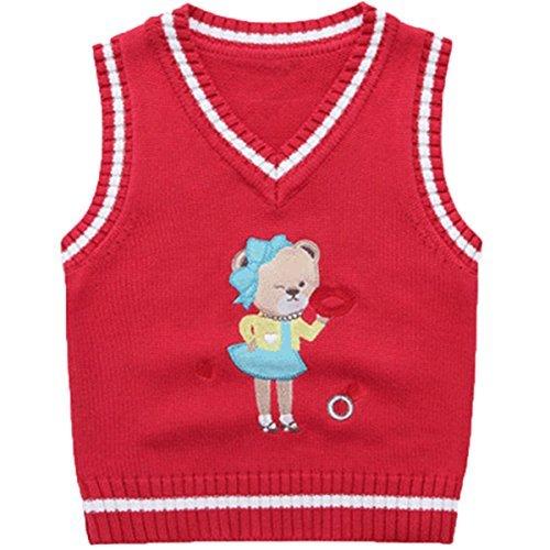 JELEUON Kids Toddler Kids Little Girls SleeveLlvess V-Neck Cartoon Bear Pullover Sweater Vest 5T
