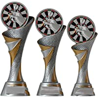 FG Pokal Trophäe Dart Darts mit Emblem 70 mm aus Resin Kunstharz massiv 3 Größen