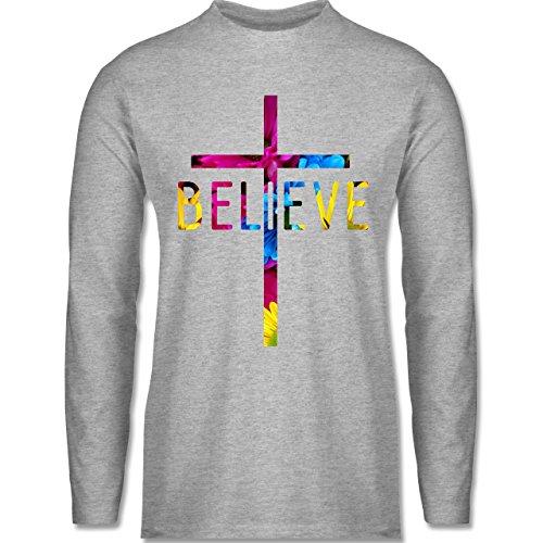 Shirtracer Statement Shirts - Believe Flowers - Herren Langarmshirt Grau Meliert