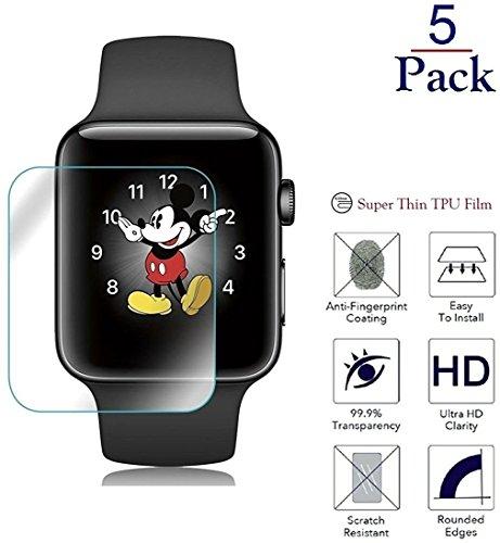 Wandregal Josi Minea X 5PCS Apple Watch 3D Curved Silikon TPU Film Displayschutzfolie mit Kante zu Kante Deckung und Kratzfest LCD Cover Guard HD Schild für Apple Watch Serie 3, 2& 1[5Pack], 38mm Lcd Scratch Guard