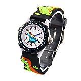Kinder Uhr Kinderarmbanduhr Analog Digital Uhr Quarz Uhrwerk Gummi-Armband 3D Bilder - Schwarz - Dinosaurier