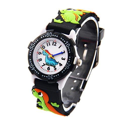 Reloj de pulsera de Cuarzo Aprendizaje con Dibujo Animal 3D Analógico Cartoon Niños Niñas Infantiles - Dinosaurio - Negro - con caja de regalo