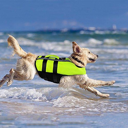 Namsan Hunde-Schwimmweste-Hundelebensweste Schwimmmantel für Große Hunde, Grün