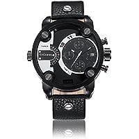 Sheli tutti Gunmetal Design multifunzionale Dual Time Zone Big polizia Sport cinturino in pelle orologio da uomo, 52mm