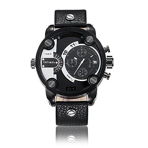 Sheli Herren Alle Gunmetal Groß Designer Multifunktionale Perpetual Polizei Armee Leder Armbanduhr für Männer, 52mm