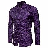 TEBAISE Urlaub Oktoberfest Mode Herren Hochzeit Clubbing Dance Anzug Hemd Slim Fit Streifen Langarm Casual Button Shirts Formale Top Bluse(Violet,EU-50/CN-L)