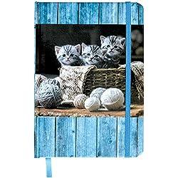 Cuaderno A5/96Páginas a rayas con tapón de goma banda, Hard Cover Cubierta laminada, ideal para gato Amigos