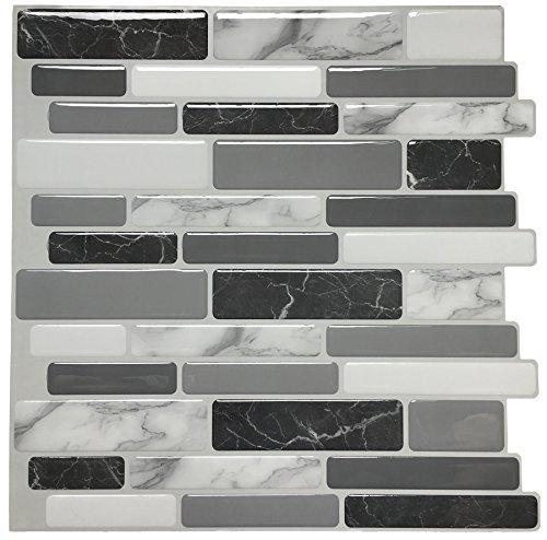 ART3D schälen und Stick backsplashes Fliesen Vinyl Küche Wand Stikers, 6Stück (Peel Stick Tile Wand)
